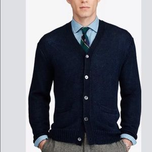 Polo Ralph Lauren Sweater Cardigan Blue Linen